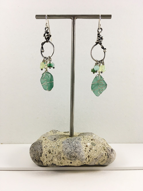 6fc76ace370ae Sea glass earrings with organic hoop and dangles