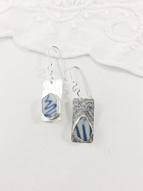 Ming China earrings, broken china earrings, up cycled earrings, Ming china, sterling silver earrings, handmade silver jewelry