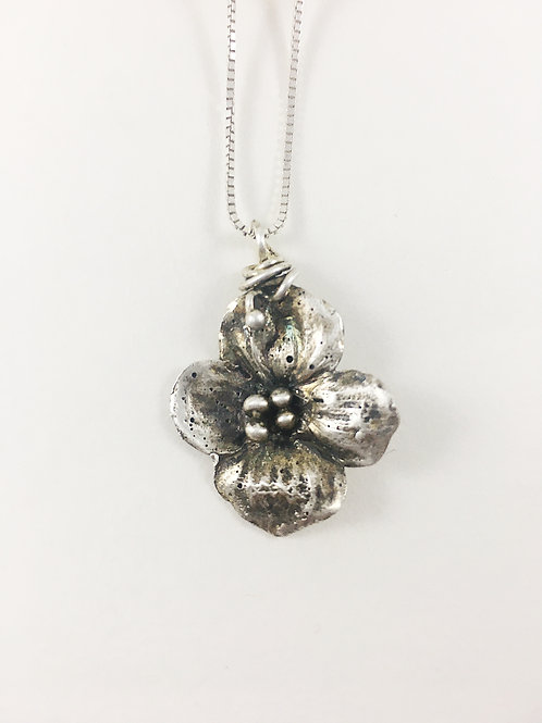 silver dogwood flower pendant, nature jewelry, flower jewelry, nature inspired jewelry, PMC jewelry, botanical jewelry