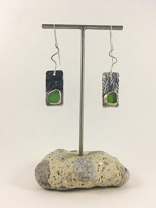 sterling silver sea glass jewellery, sea glass jewelry, sea glass earrings, silver sea glass earrings, handmade jewelry