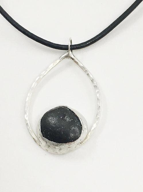sterling silver pendant, minimalist jewelry, minimalist pendant, unisex jewelry,  tear drop pendant, handmade silver jewelry