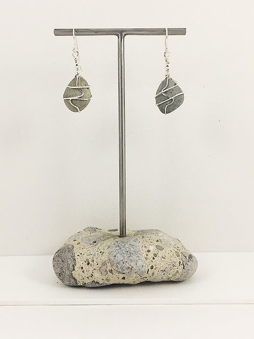 pebble jewelry, pebble earrings, natural jewelry, handmade earrings, sterling silver earrings, handmade earrings
