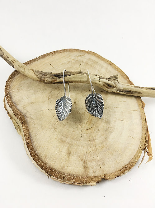 fine silver alder leaf jewelry, leaf earrings, nature jewelry, precious metal clay jewelry, PMC jewelry, handmade earrings