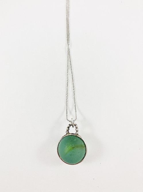 sea marble pendant- aqua and yellow, sea glass jewelry, artisan jewelry, glass pendant, handmade jewelry, sea glass pendant