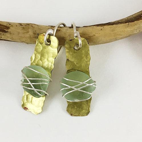 Handmade Sterling Silver and Sea Foam Colored Sea Glass Earrings