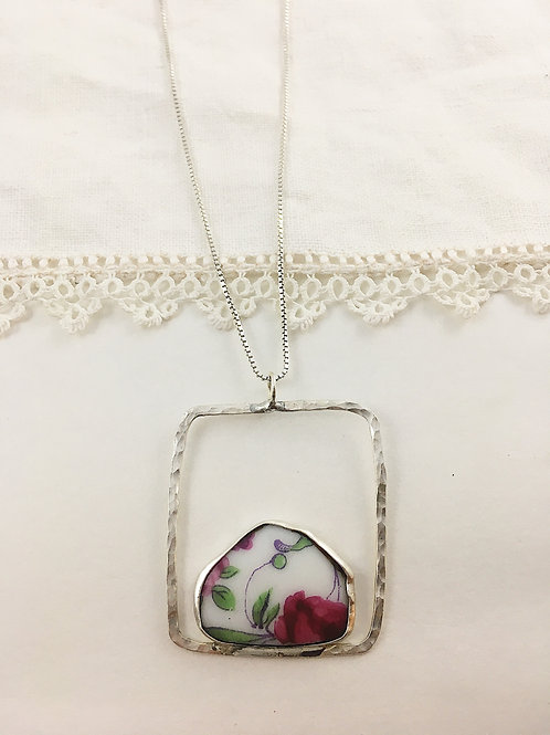 broken china necklace, broken china jewelry, broken china pendant, handmade silver necklace, upcycled jewelry, china pendant