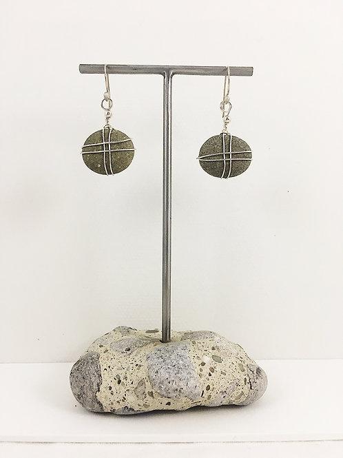 beach pebble jewelry, pebble earrings, natural jewelry, handmade jewelry, sterling silver earrings, sterling silver jewelry,