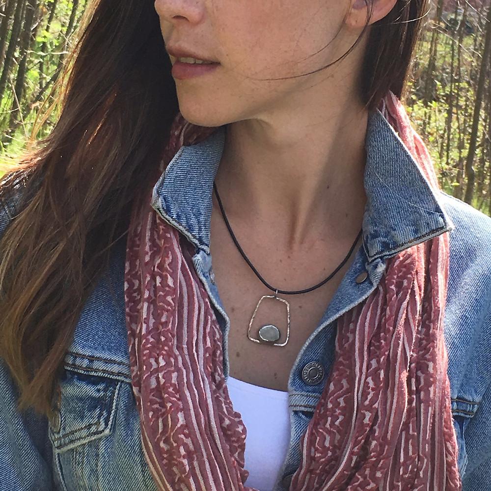 Pebble pendant, handmade jewelry