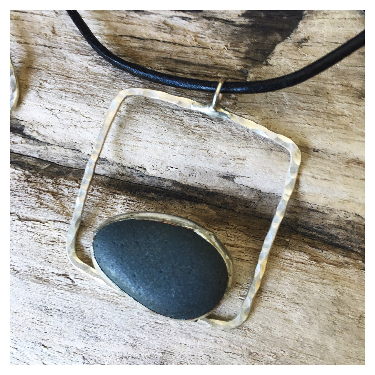 Sterling pebble pendant