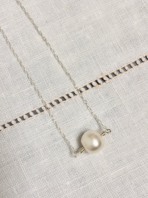 handmade pearl necklace pearl pendant silver jewelry silver pendant minimalist jewelry