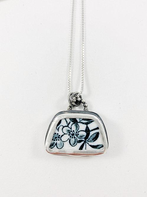 broken china pendant, upcycled jewelry, broken china jewelry, handmade silver jewelry, bespoke jewelry pendant, repurposed