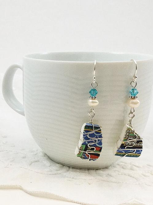 handmade earrings, vintage china earrings, upcycled jewelry, upcycled earrings, recycled jewelry, handmade earrings, pearls