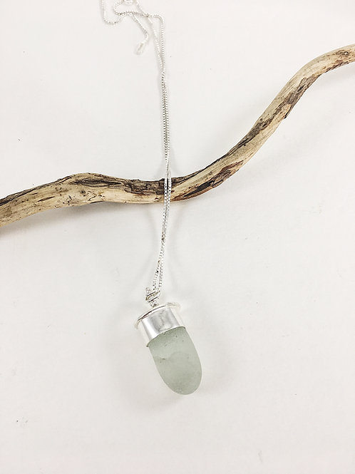 Light seafoam sea glass pendant, sterling silver sea glass pendant, handmade sea glass necklace, sea glass jewelry