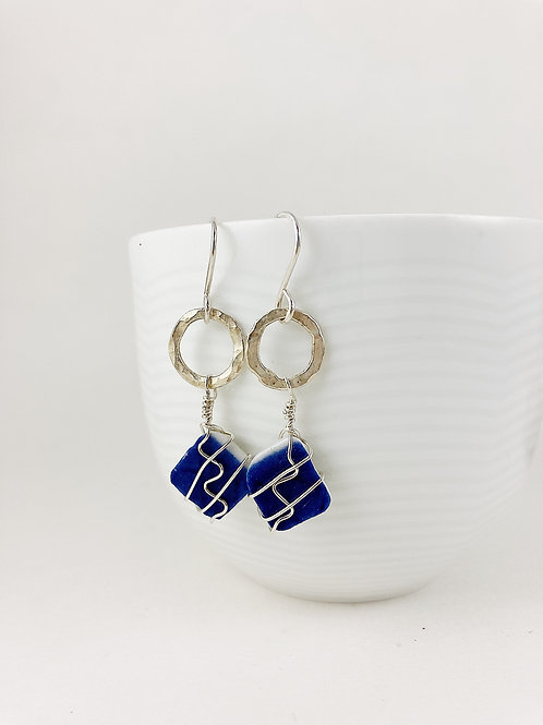 wire wrapped Ming china earrings, broken china jewelry, Ming china, wire wrapped jewelry, upcycled earrings, sterling earring