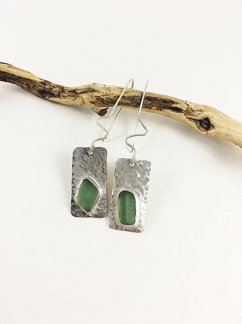 silver sea glass earrings, sterling sea glass jewelry, beach wedding jewelry, aqua sea glass earrings, sea glass jewelry