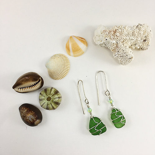 Handmade Green Sea Glass Earrings with Sterling Silver Wire Detailing and Swarovski Bead