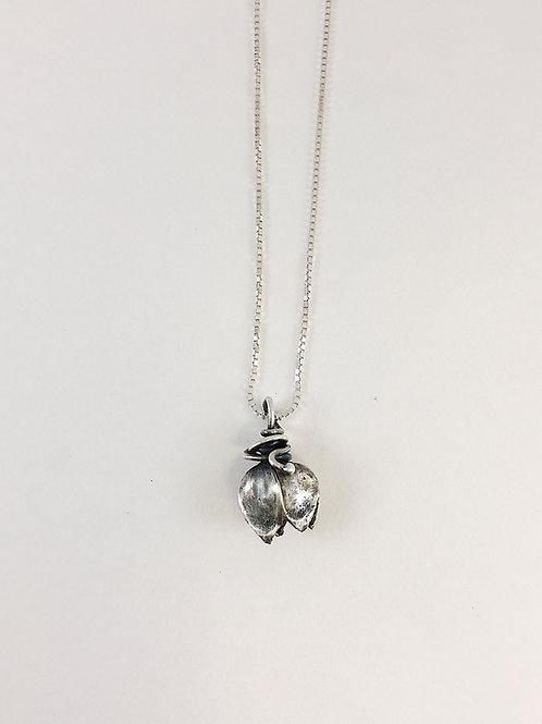 botanical jewelry, silver bud pendant, botanical pendant, handmade silver pendant, layering pendant, handmade silver jewelry