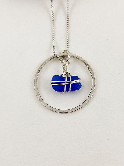 blue hoop pendant with sea glass, silver sea glass jewelry, sea glass jewellery, mermaid jewelry, beach wedding jewelry