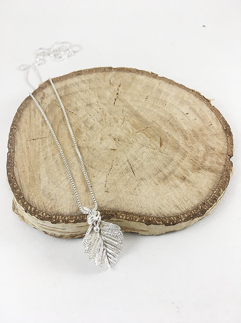 fine silver mini alder leaf pendant not oxidized, nature jewelry, leaf jewelry necklace, silver jewelry, PMC jewelry