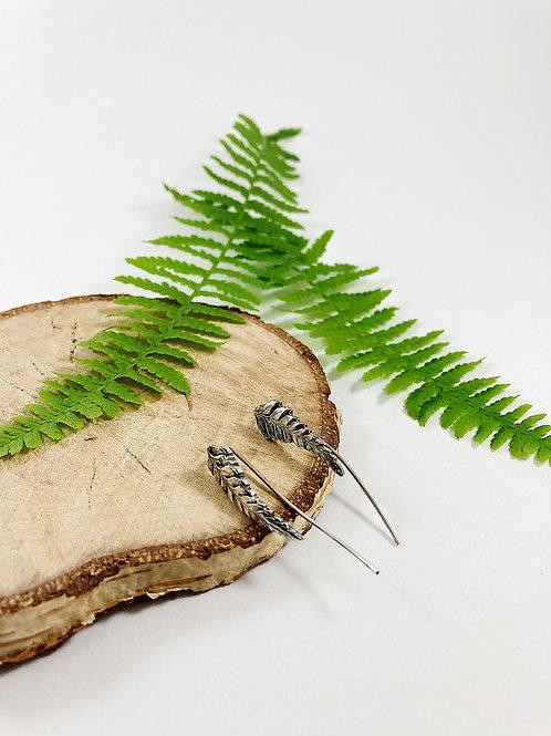 fine silver fern ear crawlers, minimalist jewelry, fern earrings, nature jewelry jewellery, leaf ear crawlers
