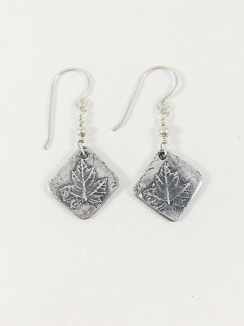 fine silver maple leaf earrings, nature inspired jewelry, nature jewelry, leaf jewelry, Canadian flag earrings