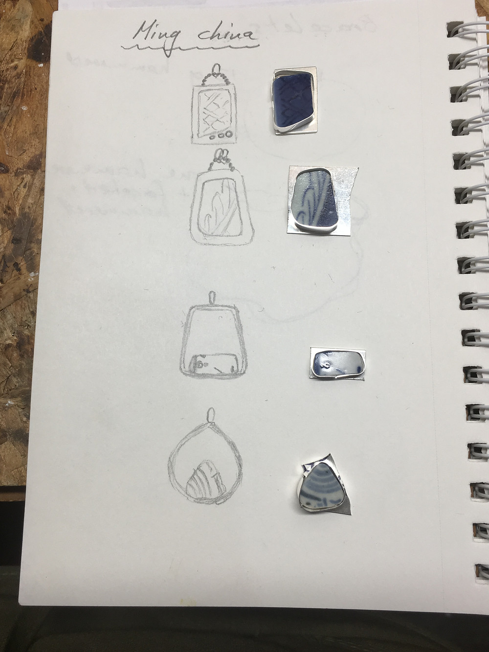 jewelry sketches for Ming china from shipwreck