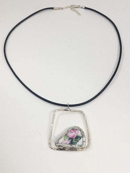 geometric necklace, broken china jewelry, broken china necklace, leather necklace, pendant necklace, upcycled jewelry