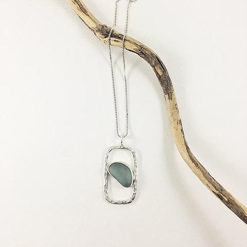 seafoam sea glass pendant, sea glass jewelry, geometric jewelry, minimalist jewelry, sea glass necklace, silver necklace