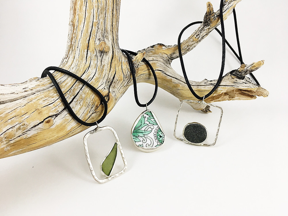 sea glass jewelry, broken china jewelry, pebble jewelry, Andi Clarke Jewelry