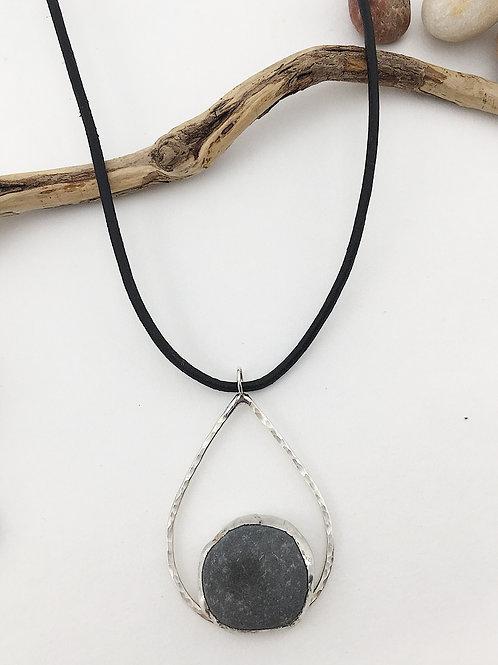 Pebble jewelry, pebble necklace, minimalist jewelry, unisex jewelry, tear drop pendant, nature jewelry, pebble jewellery