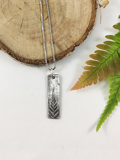 fine silver fern bar pendant, minimalist jewelry, silver bar pendant, nature jewelry, layering necklace, botanical jewelry