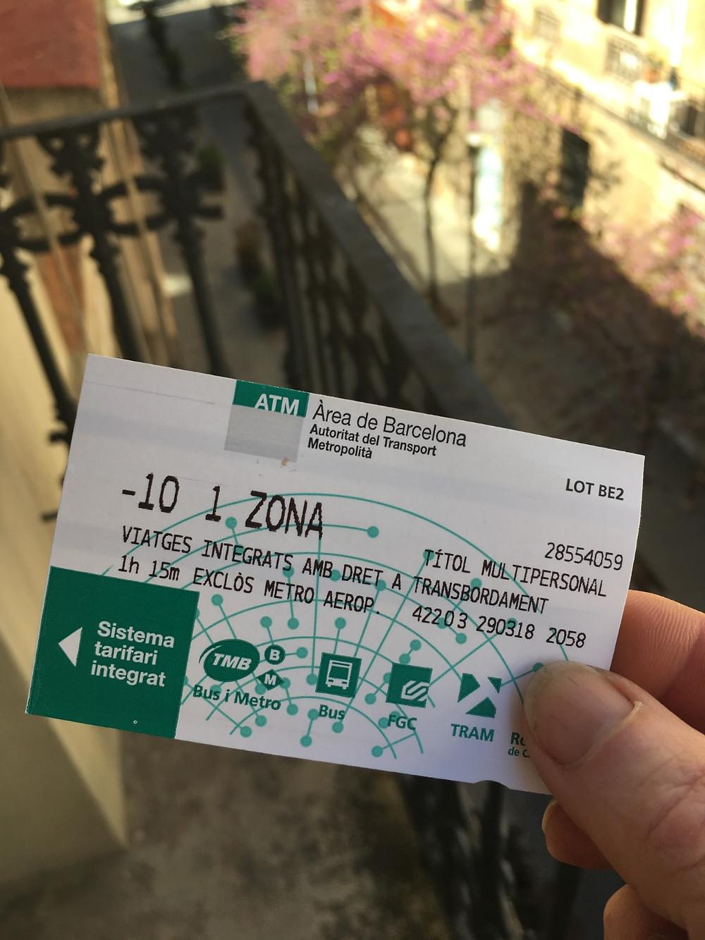 T-10 transport ticket for Barcelona