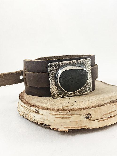 black pebble cuff bracelet, silver jewelry leather, silver jewelry unisex jewelry, minimalist jewelry, nature jewelry, pebble