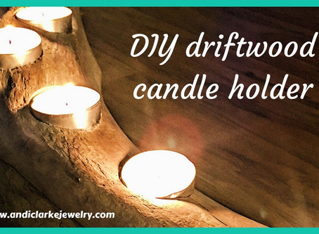 DIY driftwood/weathered wood candle holder