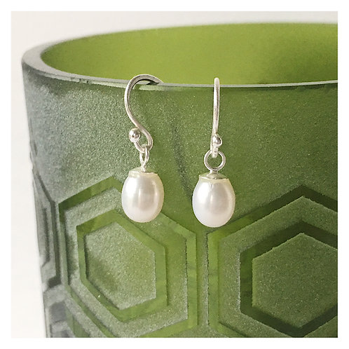 Handmade sterling silver and freshwater pearl drop earrings