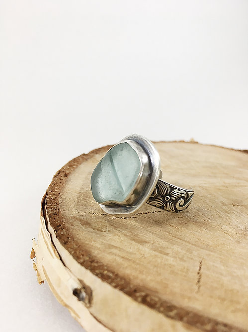 light aqua sea glass ring adjustable, sea glass jewelry, sea glass jewellery, bespoke jewelry, handcrafted silver ring