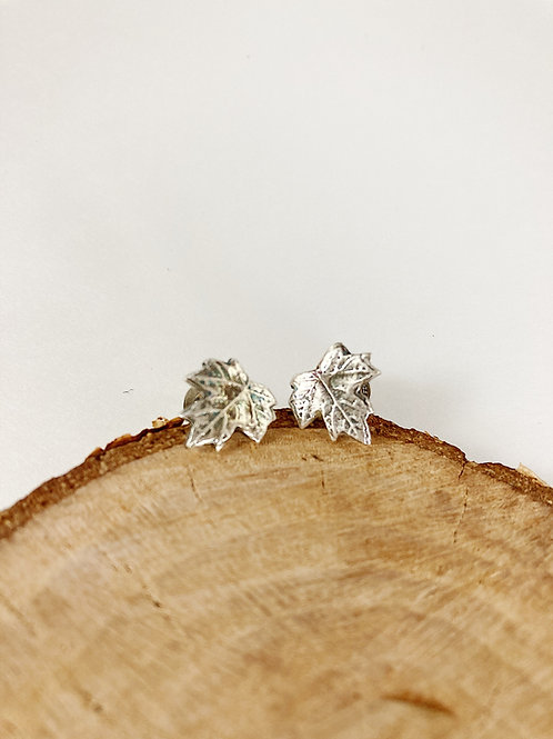 silver maple leaf stud earrings, nature jewelry, PMC jewelry, botanical jewelry, silver maple leaf jewelry, nature jewellery
