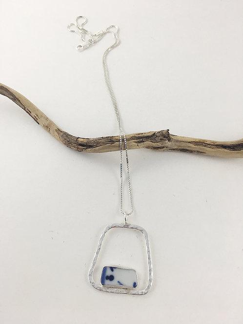 Ming china pendant, Ming china jewelry necklace, upcycled jewelry, broken china jewelry, broken china necklace