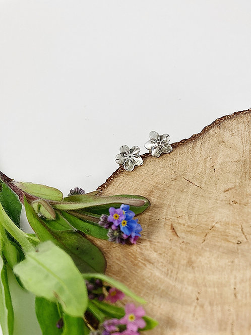 Silver forget me not flower stud earrings, botanical jewelry, nature jewelry, flower stud earrings, PMC jewelry, silver studs