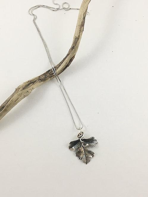 botanical jewelry, botanical pendant, leaf pendant, silver leaf necklace, handmade jewelry, handmade pendant, PMC jewelry
