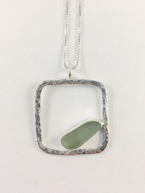 seafoam sea glass pendant, sea glass jewelry, geometric jewelry, unisex jewelry, sterling silver jewelry, handmade jewelry