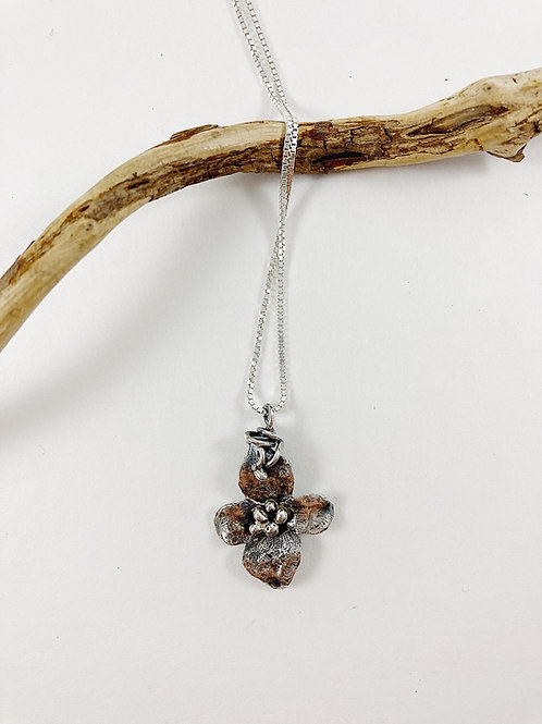 Mini dogwood flower pendant - with patina
