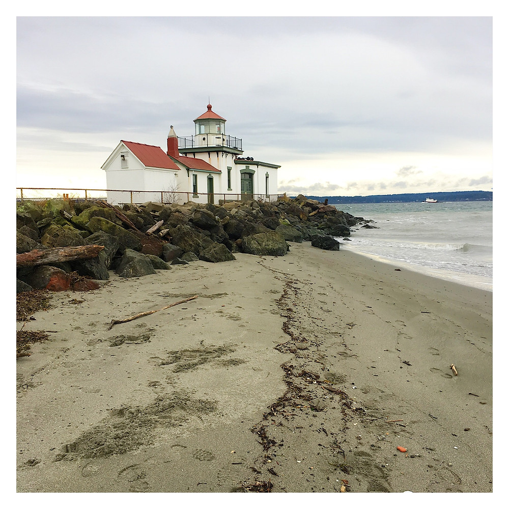 Discovery Park lighthouse in Seattle on the Puget Sound