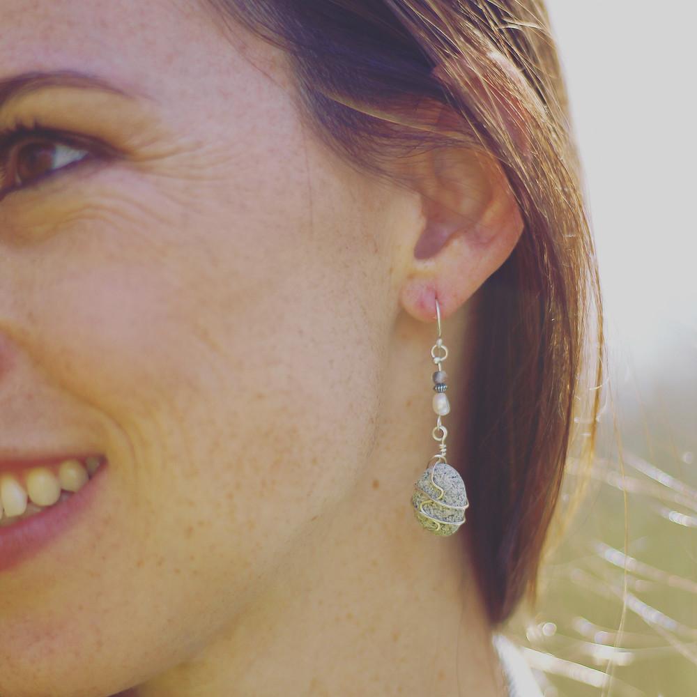 pebble earrings, natural jewelry