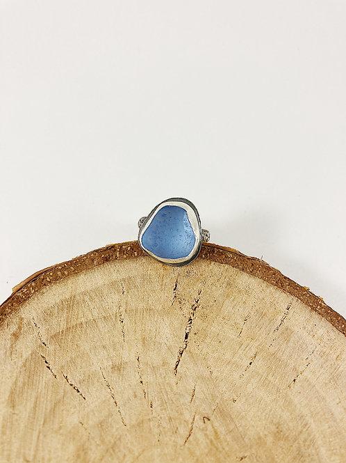 cornflower blue sea glass ring, sea glass jewelry, sterling silver sea glass ring, sea glass ring, mermaid jewelry