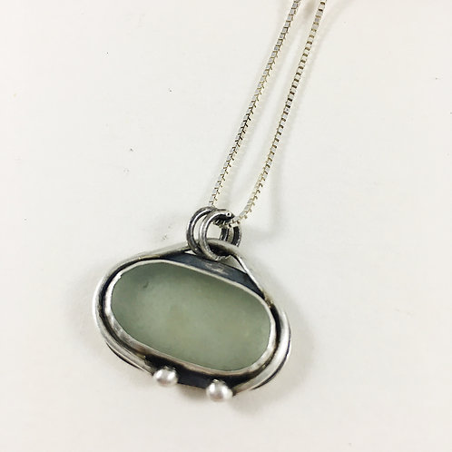 seafoam green sea glass pendant, sea glass necklace, sea glass jewelry, mermaid jewelry necklace, handmade silver jewelry