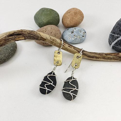 Handmade Sterling Silver and Black Beach Pebble Earrings