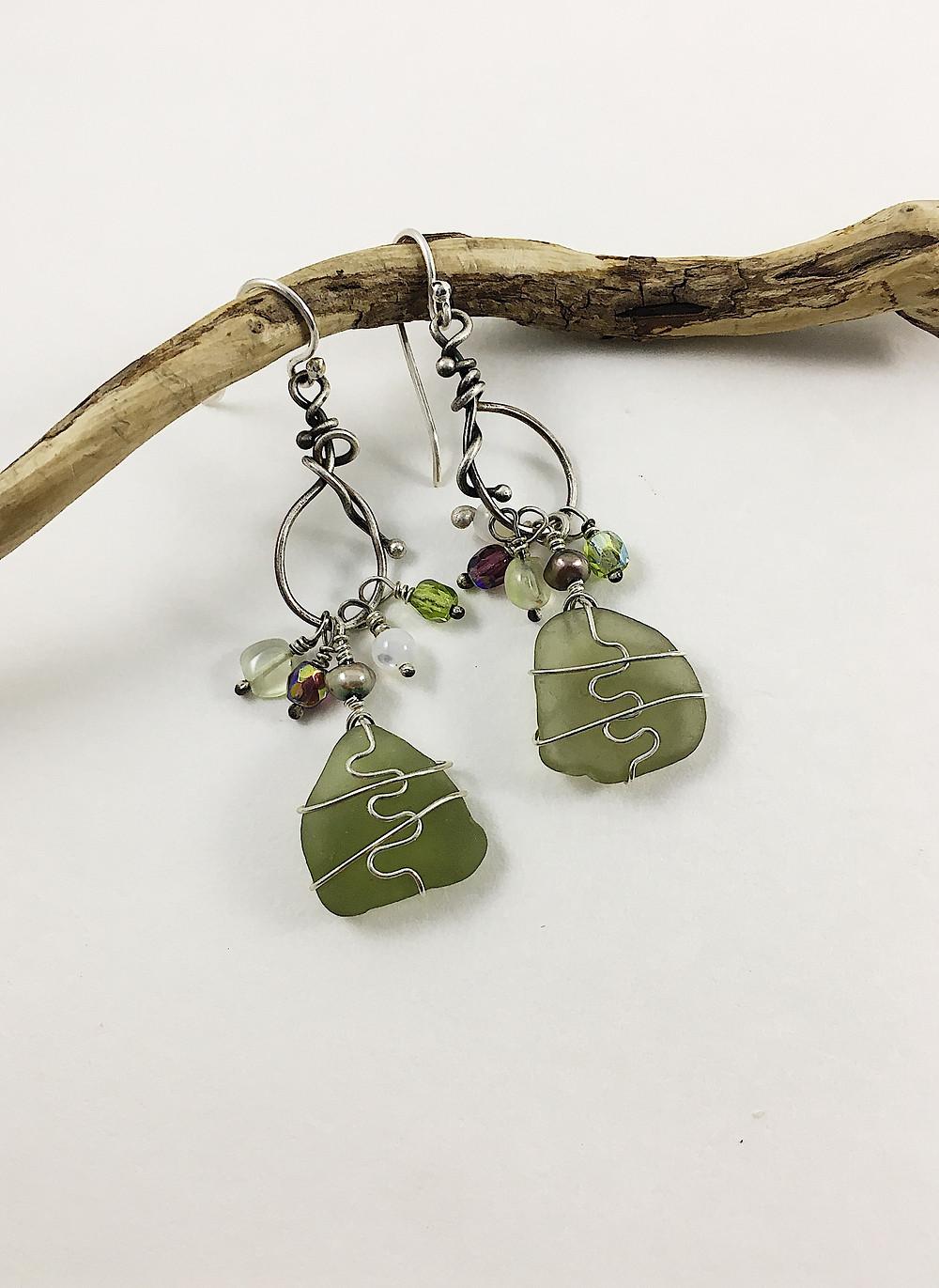 bohemian sea glass earrings olive green sea glass