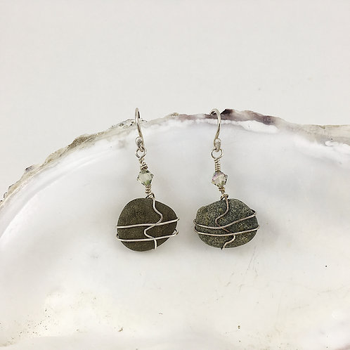 Gray Beach Pebble Earring with Sterling Wire Wrapping and Ear Wire
