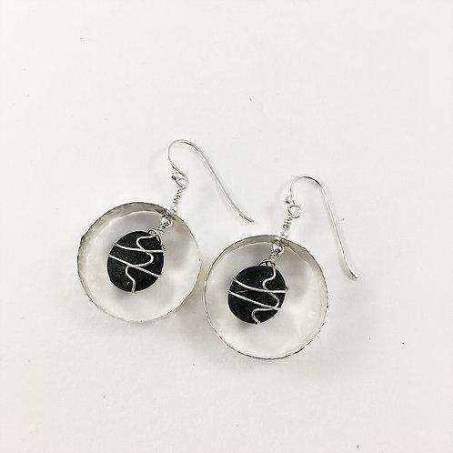 Pebble earrings with hammered hoop, sterling earrings with pebble, wire wrapped earrings, nature jewelry, pebble jewelry